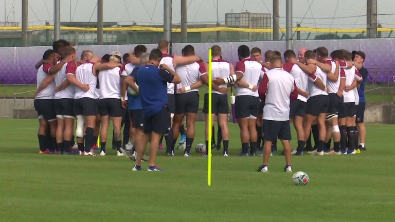 England trained in the Tokyo suburbs on Monday as they prepare to take on Argentina