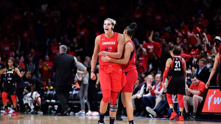 Elena Delle Donne celebrates after nailing a clutch late jump shot