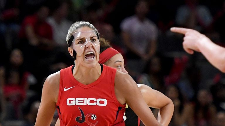 Elena Delle Donne questions a call during the Washington Mystics' Game 4 win