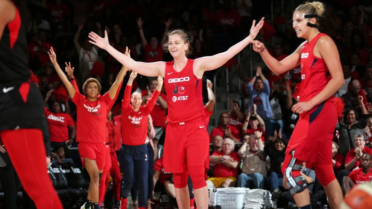 Emma Meesseman celebrates her exceptional performance in the Mystics' Game 2 win over the Aces
