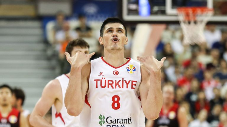 Ersan Ilyasova reacts after scoring in Turkey's opening win at the FIBA World Cup