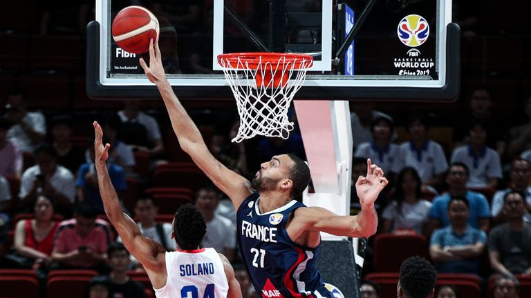 Rudy Gobert rises up for a block on Gelvis Solano at the FIBA World Cup