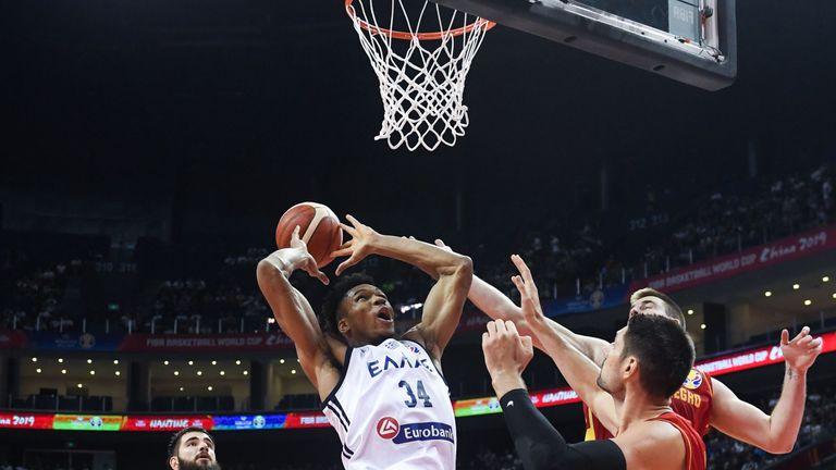Giannis Antetokounmpo rams home a dunk against Montenegro