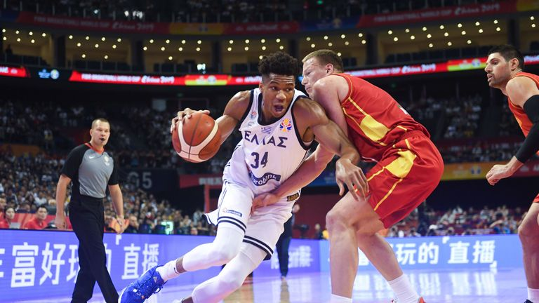 Giannis Antetokounmpo drives to the hoop against Montenegro