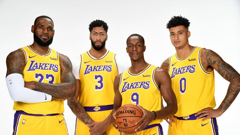 LeBron James and Anthony Davis pose at Lakers media day