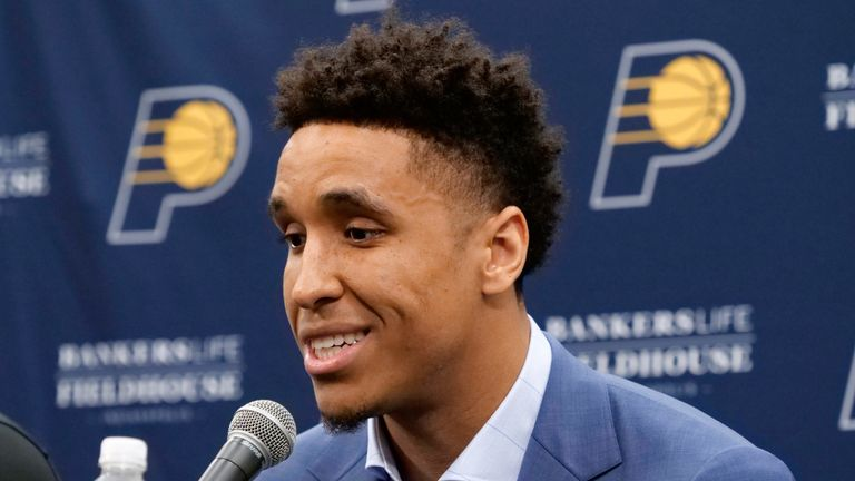 Malcolm Brogdon speaks to the press after being unveiled as a member of the Indiana Pacers