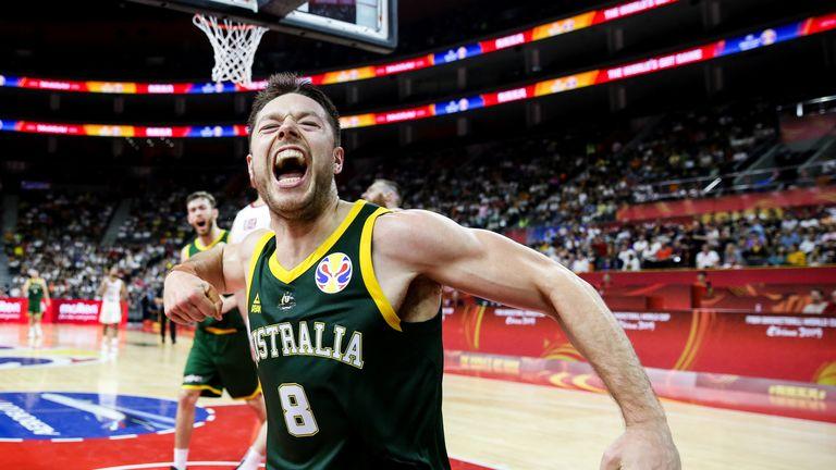 Matthew Dellavedova celebrates a basket during Australia's opening win at the FIBA World Cup