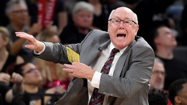 Washington Mystics coach Mike Thibault issues instructions from the sideline