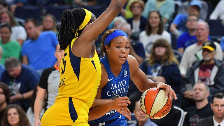 Napheesa Collier drives against the Indiana Fever
