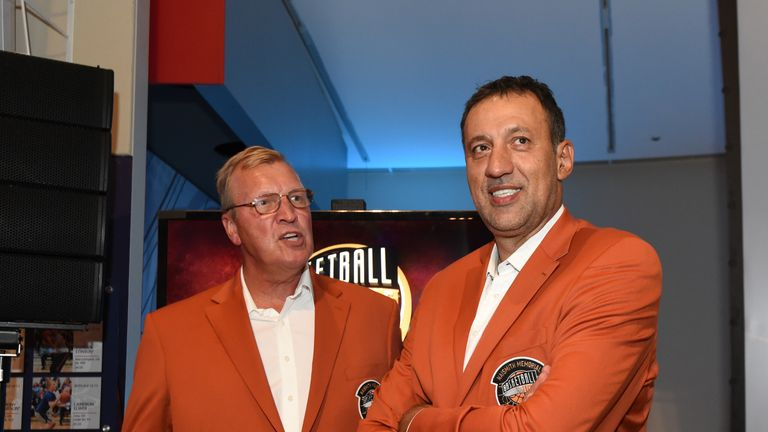 Hall of Fame inductees Jack Sikma (left) and Vlade Divac (right) look on at the Bunn-Gowdy Awards Dinner as part of the 2019 Basketball Hall of Fame Enshrinement Ceremony