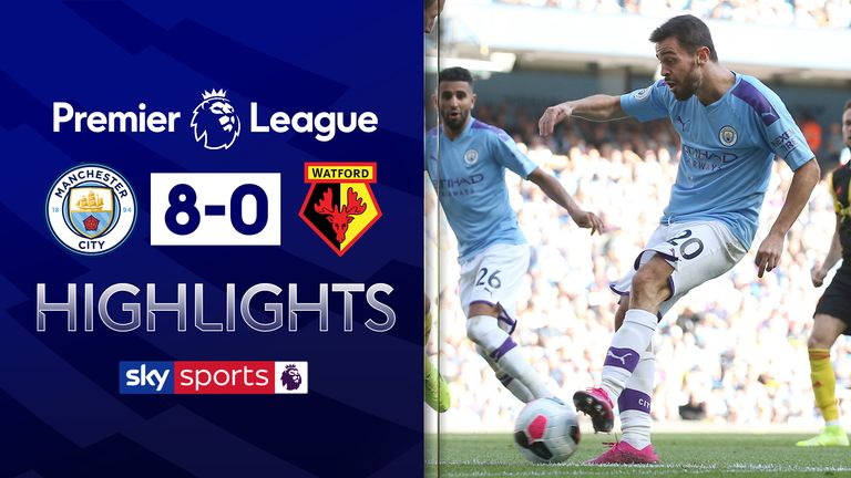 FREE TO WATCH: Highlights from Manchester City's 8-0 win over Watford in the Premier League
