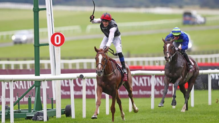 Search For A Song, ridden by Chris Hayes, wins the Comer Group International Irish St. Leger