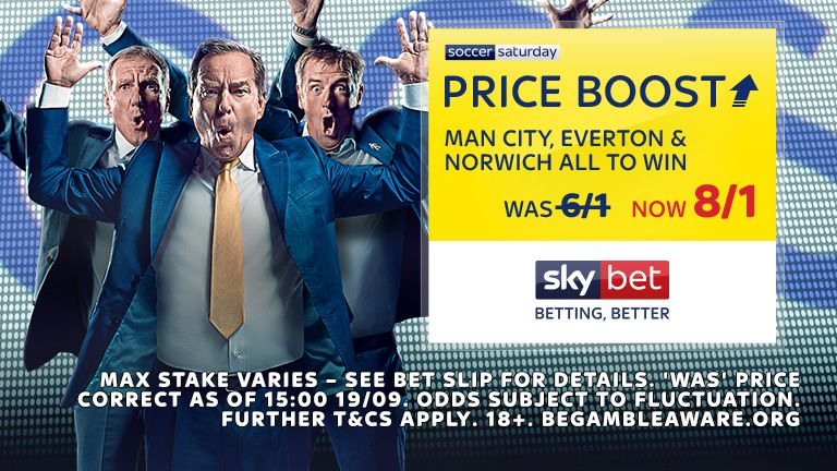 Sky Bet SSPB 2109 - MAN CITY EVERTON NORWICH 8/1
