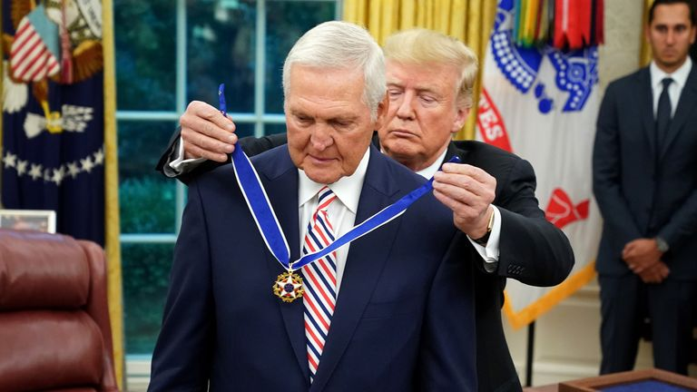 NBA legend Jerry West is presented with the Presidential Medal of Freedom by Donald Trump