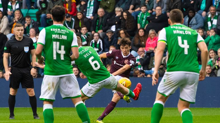 Aaron Hickey scores to make it 2-1 during the Ladbrokes Premiership match between Hibs and Hearts at Easter Road