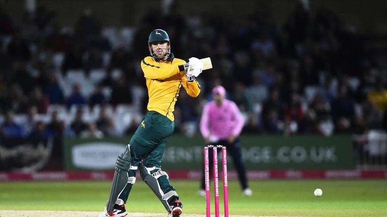 Hales hit 83 not out for Nottinghamshire Outlaws