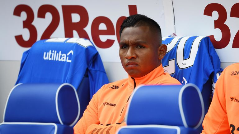 Alfredo Morelos started on the bench for Rangers