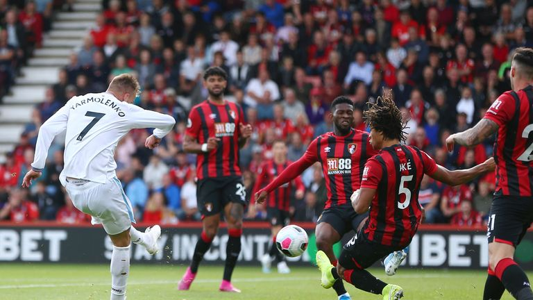 Andriy Yarmolenko fires West Ham into the lead after 10 minutes
