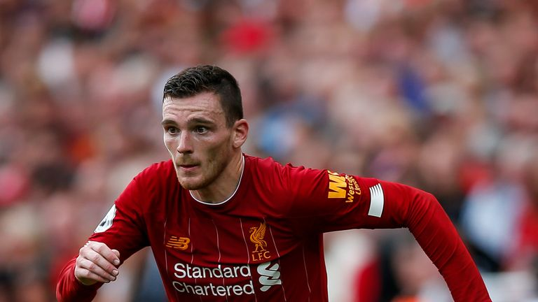 Liverpool's Andy Robertson in action against Newcastle
