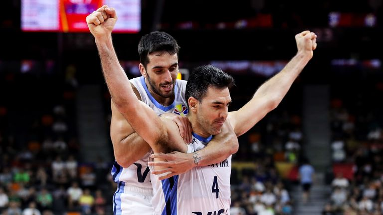 #4 Luis Scola of Argentina celebrates a point with teammate Facundo Campazzo during the quarter final of 2019 FIBA World Cup between Argentina and Serbia at Dongguan Basketball Center on September 10, 2019 in Dongguan, China.