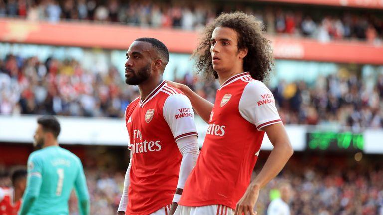 Alexandre Lacazette celebrates a goal for Arsenal