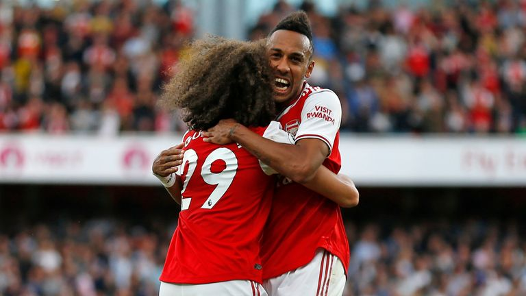 Aubameyang celebrates a goal for Arsenal