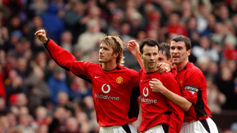 Ryan Giggs celebrates his second goal of the match with David Beckham and Roy Keane                  ..Manchester United v West Ham United, Old Trafford, Manchester 26/01/2003, Worthington Cup Semi Final 2nd Leg.