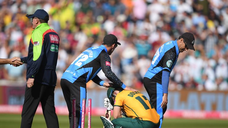 Ben Duckett is dejected after Nottinghamshire's defeat to Worcestershire in the Vitality Blast semi-final