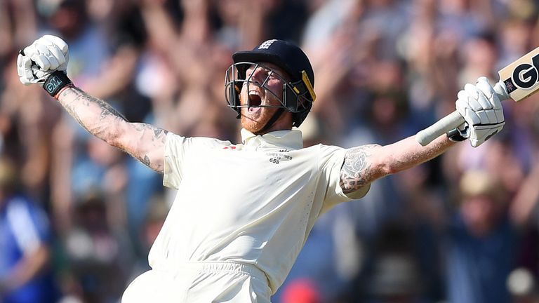 England Cricket's Ben Stokes celebrates after hitting the winning runs in the third Ashes Test at Headingley