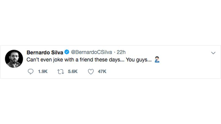 Silva's subsequent tweet