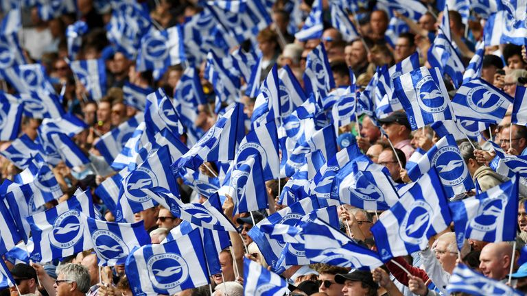 BRIGHTON, ENGLAND - AUGUST 17: Brighton fans during the Premier League match between Brighton & Hove Albion and West Ham United at American Express Community Stadium on August 17, 2019 in Brighton, United Kingdom. (Photo by Mike Hewitt/Getty Images)