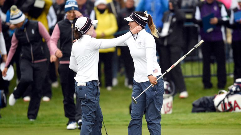 Brittany Altomare and Annie Park celebrate their fourballs victory