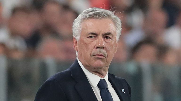 Napoli coach Carlo Ancelotti looks on during the Serie A match between Juventus and SSC Napoli at Allianz Stadium on August 31, 2019 in Turin, Italy.