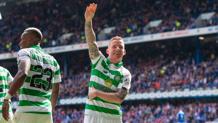 Celtic's Jonny Hayes celebrates his late goal against Rangers making it 2-0