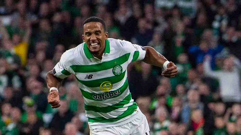 Celtic's Scott Sinclair celebrates his goal to make it 5-0 during the Betfred Cup quarter-final between Celtic and Partick Thistle