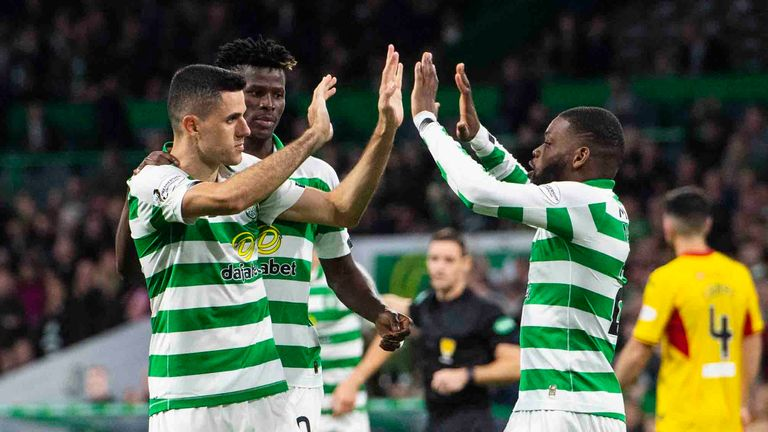 Celtic's Tom Rogic celebrates his goal with his teammates during the Betfred Cup quarter-final between Celtic and Partick Thistle