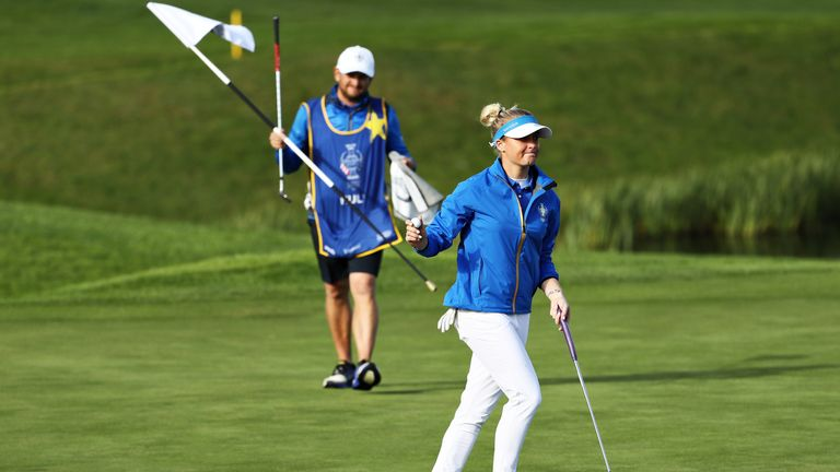 Charley Hull led for the first time at the 16th