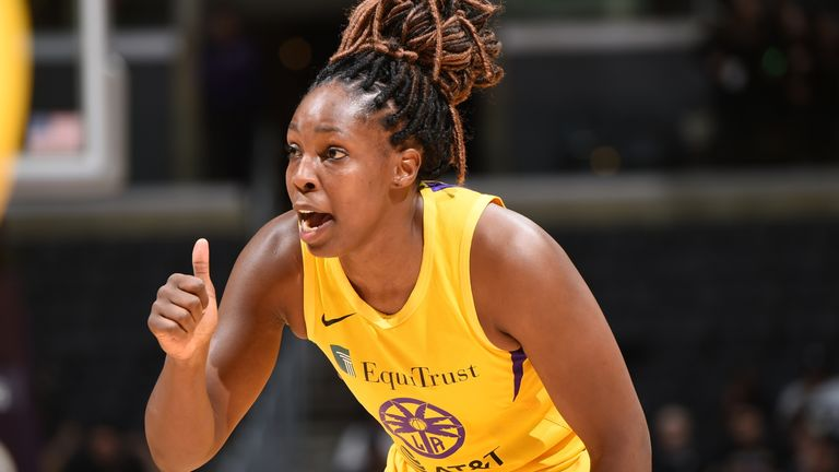 Chelsea Gray #12 of Los Angeles Sparks reacts during the game against the Atlanta Dream on September 3, 2019 at the Staples Center in Los Angeles, California. NOTE TO USER: User expressly acknowledges and agrees that, by downloading and/or using this photograph, user is consenting to the terms and conditions of the Getty Images License Agreement. Mandatory Copyright Notice: Copyright 2019 NBAE