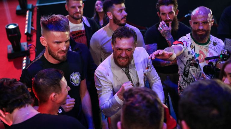 Former two-weight UFC champion Conor McGregor was in attendance, cheering on his SBG teammates