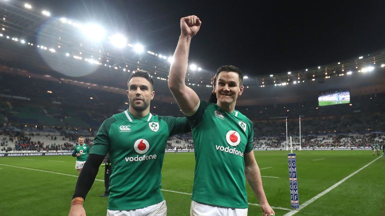 Conor Murray (l) and Johnny Sexton of Ireland celebrate Six Nations triumph