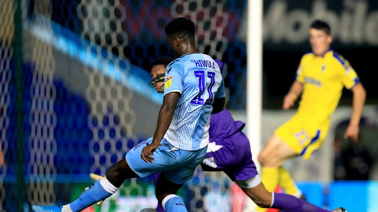 Coventry City's Jordy Hiwula scores his side's first goal of the game