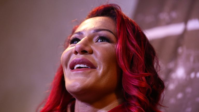 UFC Featherweight Champion Cris Cyborg attends a press conference at the Hilton Hotel in Copacabana on August 15, 2017 in Rio de Janeiro, Brazil