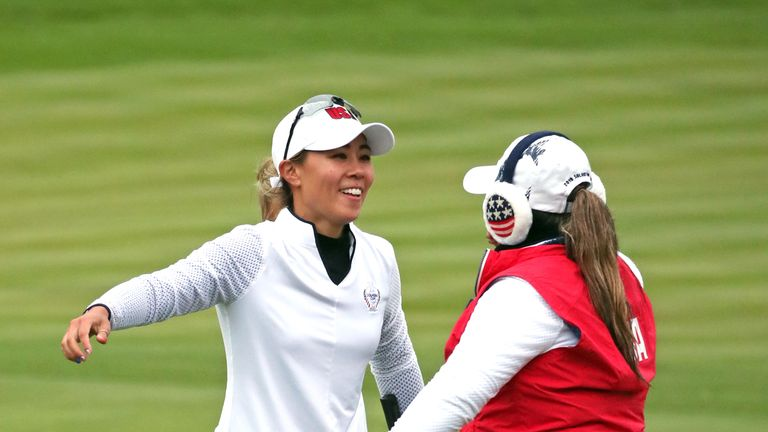 Danielle Kang and Lizette Salas celebrate their victory