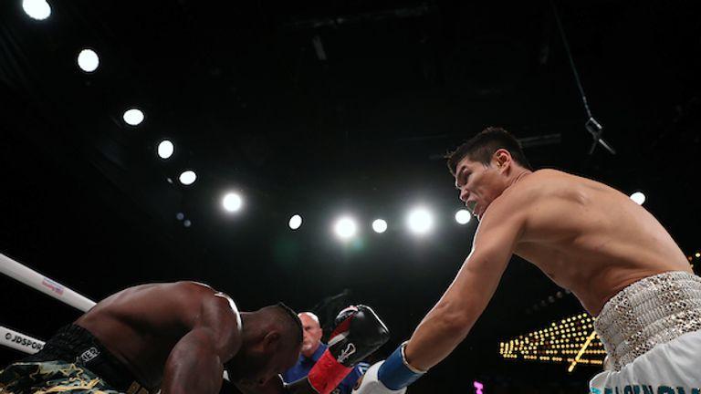 September 13, 2019; New York, NY, USA;  Daniyar Yeleussinov and Reshard Hicks during their bout at the Hulu Theater at Madison Square Garden. Mandatory Credit: Ed Mulholland/Matchroom Boxing USA