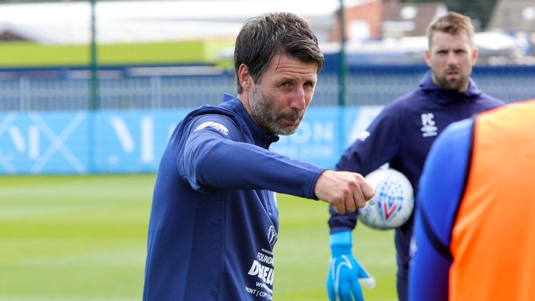 Danny Cowley takes his first training session as the new manager of Huddersfield Town
