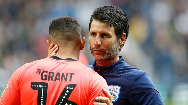Danny Cowley consoles Karlan Grant following Huddersfield's 4-2 loss to West Brom