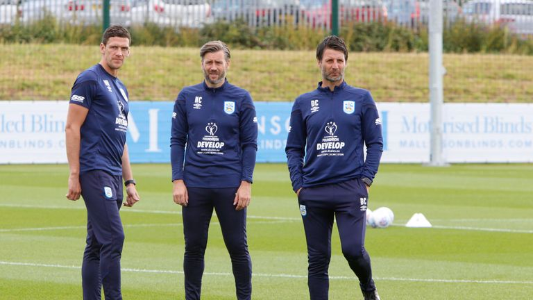 Danny Cowley, brother Nicky Cowley and Mark Hudson during a training session at Huddersfield Town's PPG Canalside complex