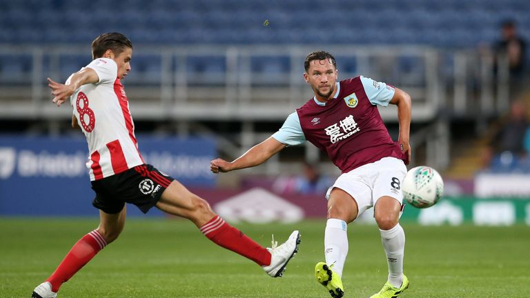 Danny Drinkwater of Burnley in action during the Carabao Cup Second Round match between Burnley and Sunderland at Turf Moor on August 28, 2019 in Burnley, England