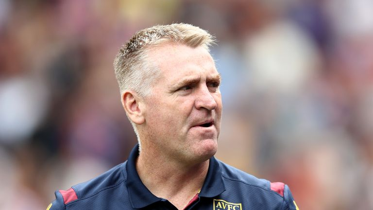 Dean Smith, Manager of Aston Villa looks on prior to the Premier League match between Crystal Palace and Aston Villa at Selhurst Park on August 31, 2019 in London, United Kingdom