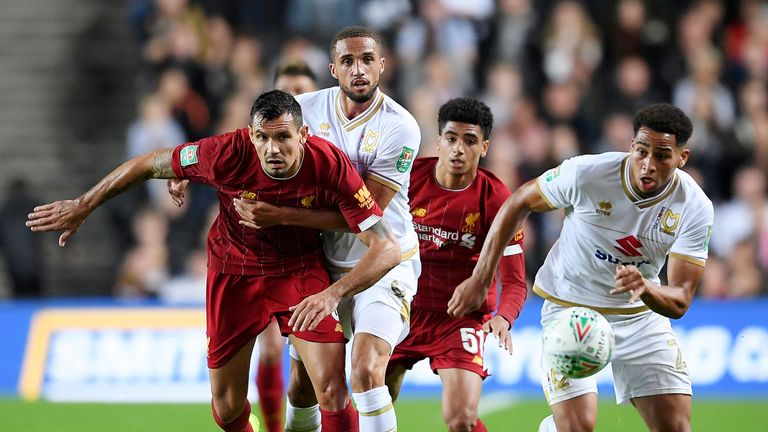 Dejan Lovren was making his first start of the season for Liverpool in the Carabao Cup